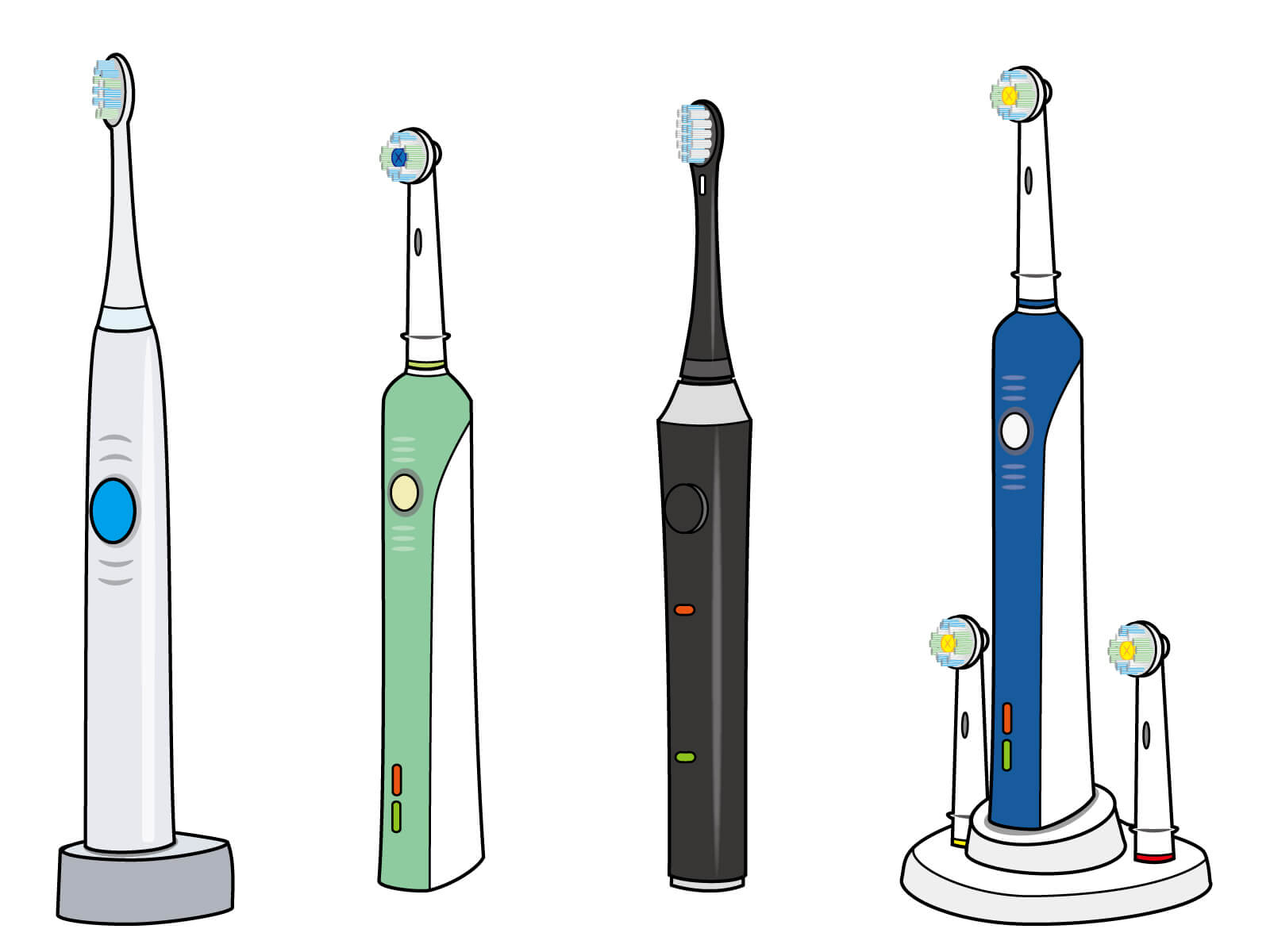 子供の仕上げ磨くようの電動歯ブラシのイメージ図